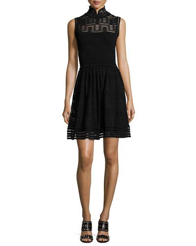 Solid Rib-Stitch Fit & Flare Dress