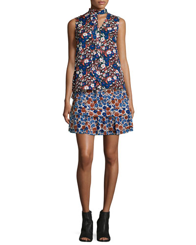 Floral-Print Sleeveless Silk Ruffle Dress