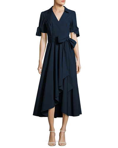 Valerie Stretch-Poplin Midi Wrap Dress, Navy