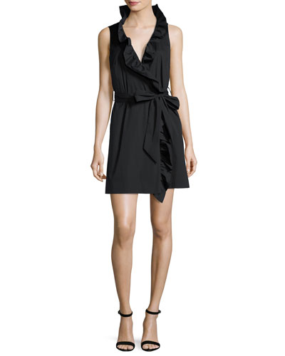 Sleeveless Stretch-Poplin Ruffle-Front Wrap Dress, Black