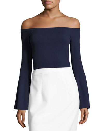 Selena Off-the-Shoulder Bell-Sleeve Knit Top