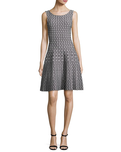 Sleeveless Geometric Jacquard Fit-&-Flare Dress