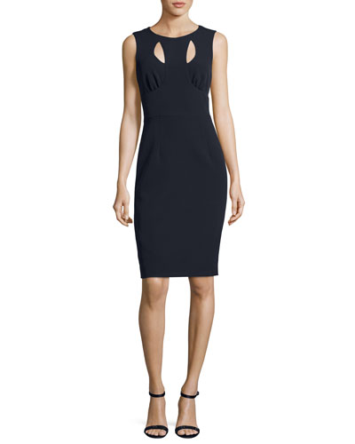 Cressida Sleeveless Stretch-Crepe Dress w/ Cutouts, Navy