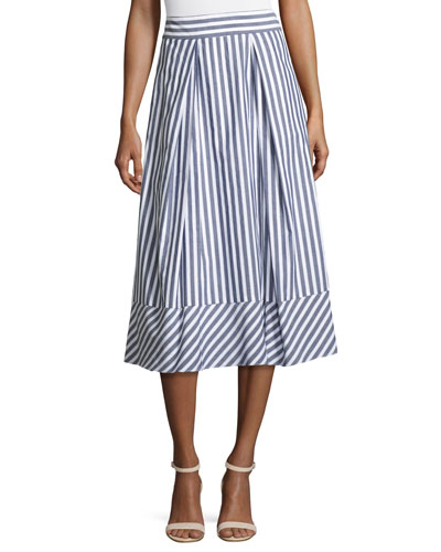 Pleated Striped Poplin Midi Skirt, Multi