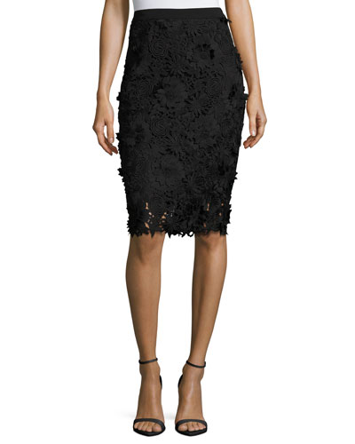 3D Floral-Embroidered Lace Pencil Skirt