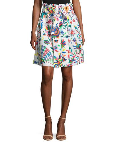 Kori Folkloric-Print Gathered Poplin Skirt