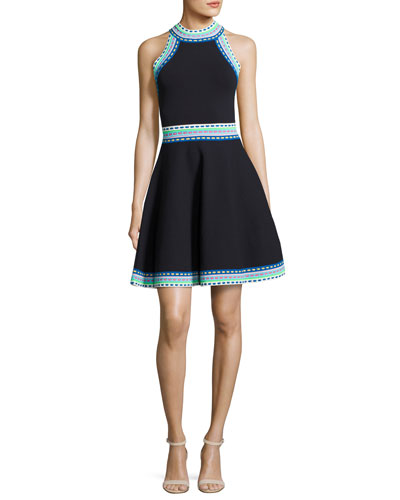 Woven-Trim Flare Dress