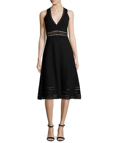 Cutout Racerback Midi Dress, Black
