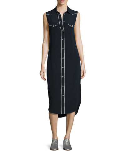 Jesse Sleeveless Western Midi Shirtdress, Dark Blue