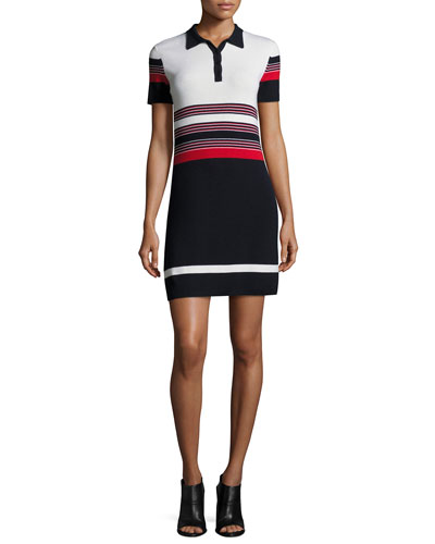 Krista Short-Sleeve Striped Polo Dress, Blue/Red