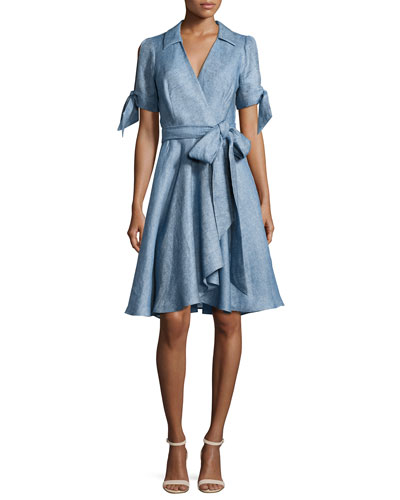 Valerie Linen Chambray Wrap Dress, Blue