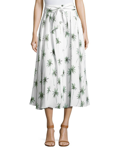 Palm Tree-Print Italian Cady Midi Skirt