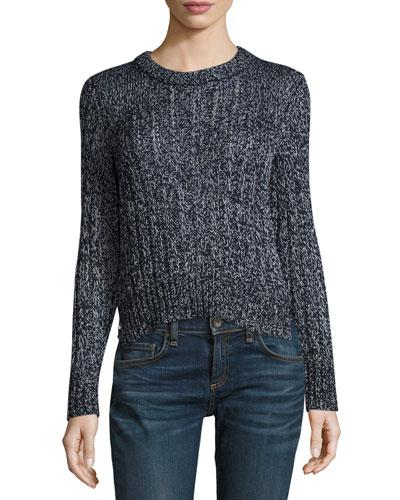 Adira Marled Cable Knit Crewneck Sweater