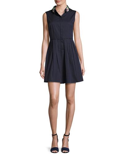 Samiyah Sleeveless Pleated Dress w/ Embellished Collar