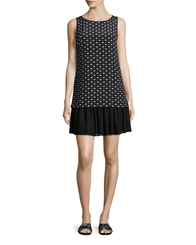 Sleeveless Stamped Hands-Print Silk Dress, Black