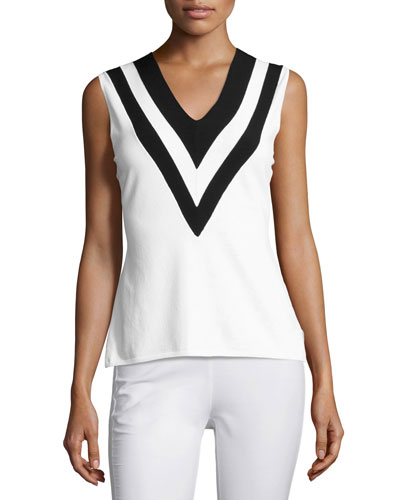Daphne Striped Knit V-Neck Tank, White