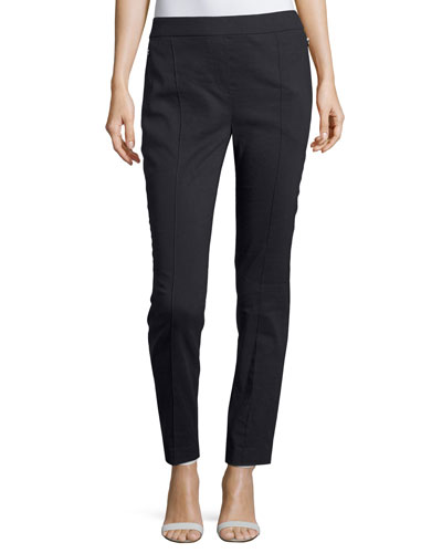 Arabella Stretch-Linen Straight-Leg Pants, Navy
