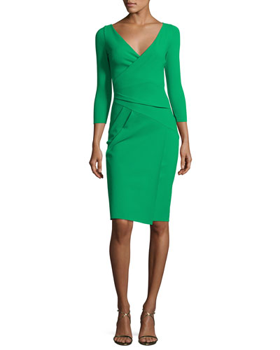 3/4-Sleeve Faux-Wrap Jersey Dress, Green