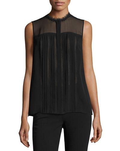 Danae Sleeveless Lace-Trim Silk Blouse, Black