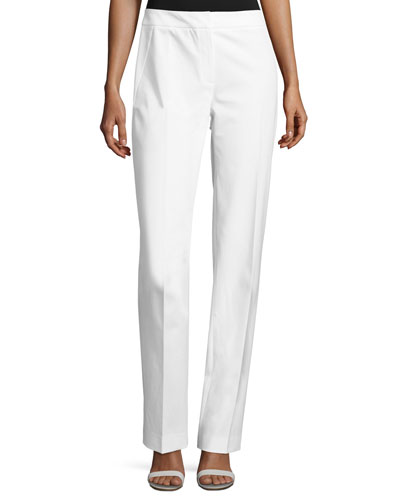 Leena Slim Stretch-Knit Pants, White