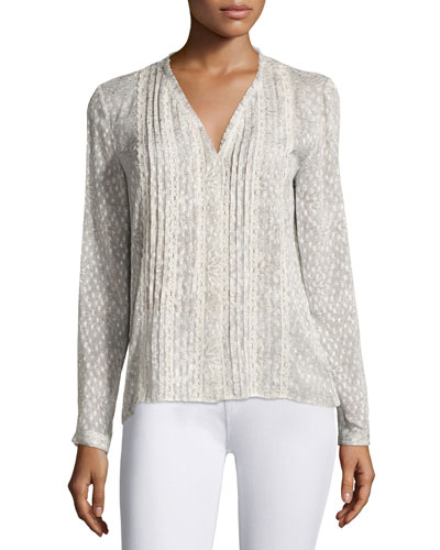 Gale Long-Sleeve Lace-Trim Pintucked Blouse, Light Brown