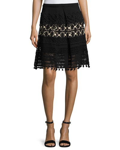 Simora Silk Lace A-Line Skirt, Black
