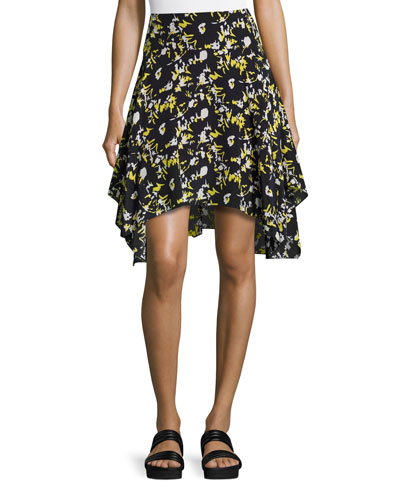 Printed Handkerchief-Hem Skirt, Midnight