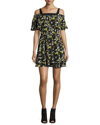 Ruffled Off-the-Shoulder Flower-Print Silk Dress, Midnight
