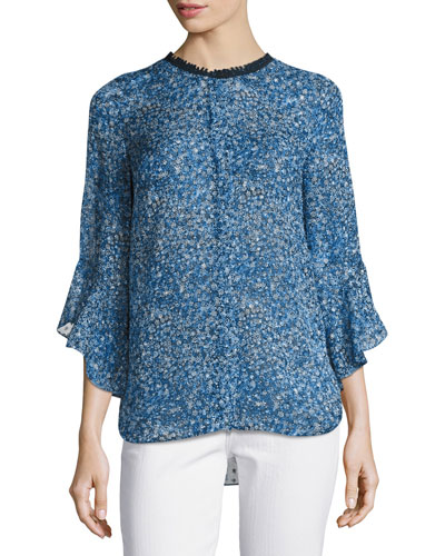 Ruby 3/4-Bell-Sleeve Floral-Print Blouse