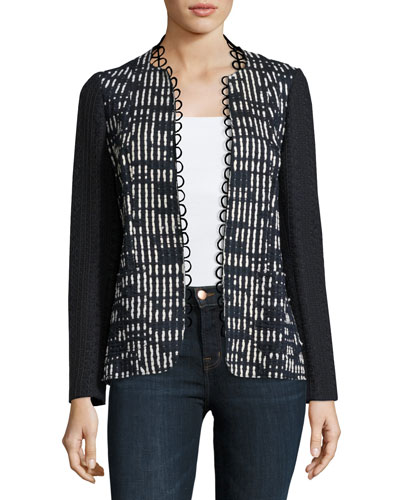 Greer Lace-Trim Textured Jacket, Blue/White