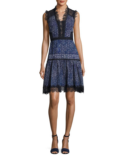 Shanna Sleeveless Lace-Trim Floral Dress, Medium Blue