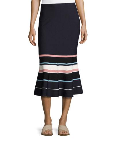 Striped Fit-&-Flare Knit Midi Skirt, Navy