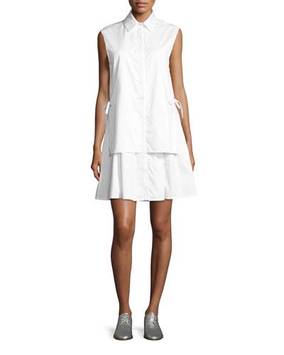 Sleeveless Layered Poplin Dress w/ Side Ties, White