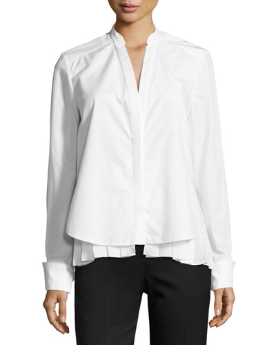 Long-Sleeve 2-in-1 Combo Poplin Top w/ Pleated Hem, White