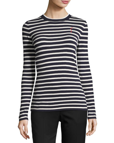 Striped Crewneck Top w/ Face Embroidery