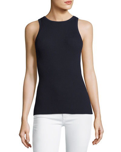 Sleeveless Tie-Back Ribbed-Knit Top, Blue