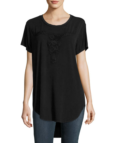 Lace Longhorn Stretch Jersey Tee, Black