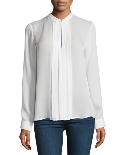 Lauren Long-Sleeve Pleated Silk Blouse