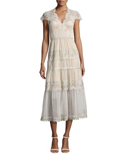 Cap-Sleeve Tiered Lace Midi Dress