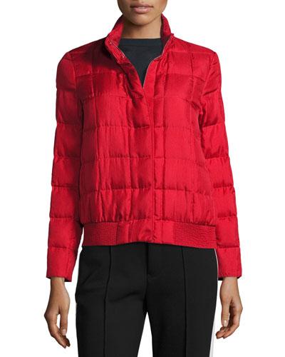 Quilted Silk Puffer Jacket, Dark Red