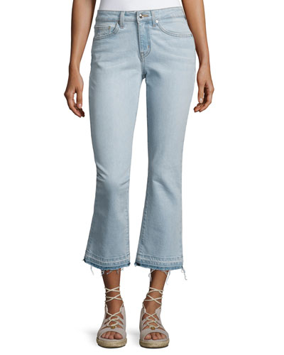 Gia Mid-Rise Cropped Flare Jeans with Released Hem, Light Blue