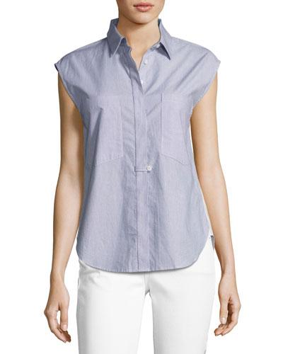 Sleeveless Striped Solid-Combo Poplin Shirt