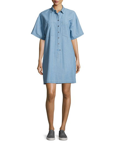 Chambray 1/2-Sleeve Shirtdress, Light Blue