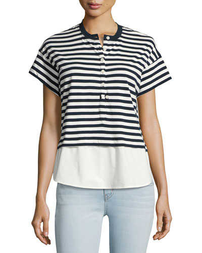 Henley Striped Shirt Combo Top