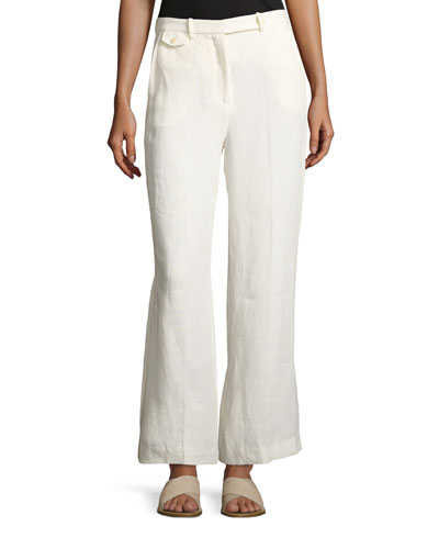 Nadeema Linen Drape Pants, White