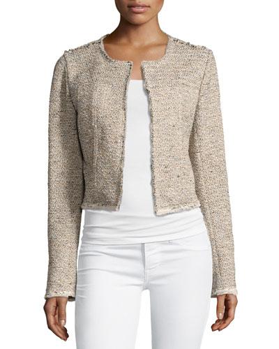 Ualana Comprised Tweed Jacket, Beige