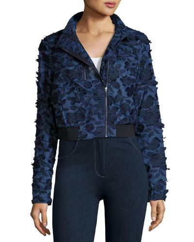 Suri Floral-Appliqué Chambray Bomber Jacket, Dark Blue