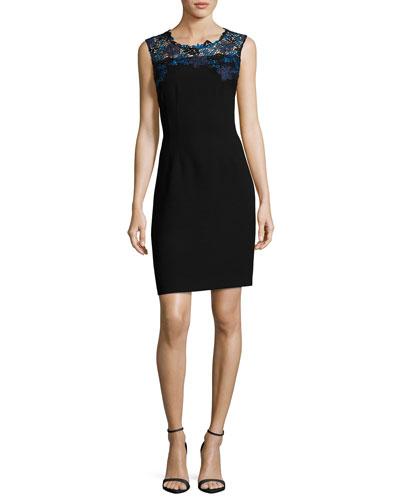 Blake Sleeveless Lace-Yoke Sheath Dress, Black