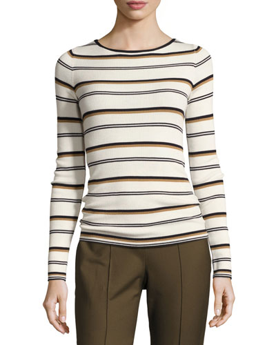 Mirzi M Refine Merino Wool Striped Sweater, White