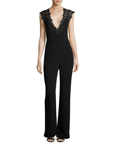 Zuzanna Elevate Crepe Jumpsuit with Lace Trim, Black